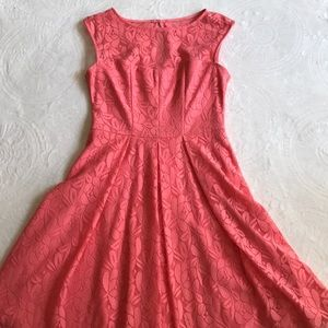 London Times coral sleeveless lined dress size 8
